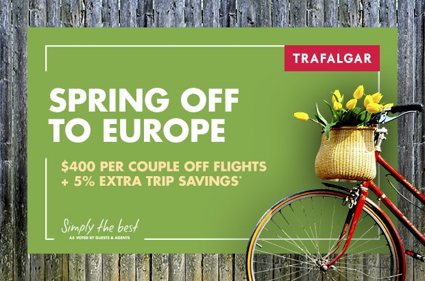 Spring Off To Europe - $400 per couple off flights + 5% extra trip savings*